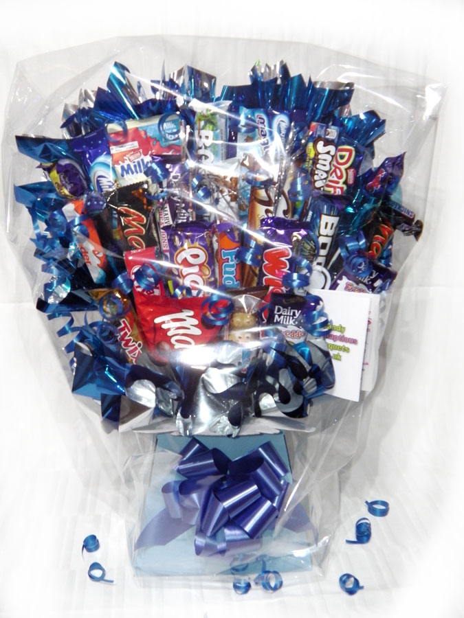 Chocolate Mountain Bouquet, Light Blue box, Royal Blue trim, Cellophane wrapped
