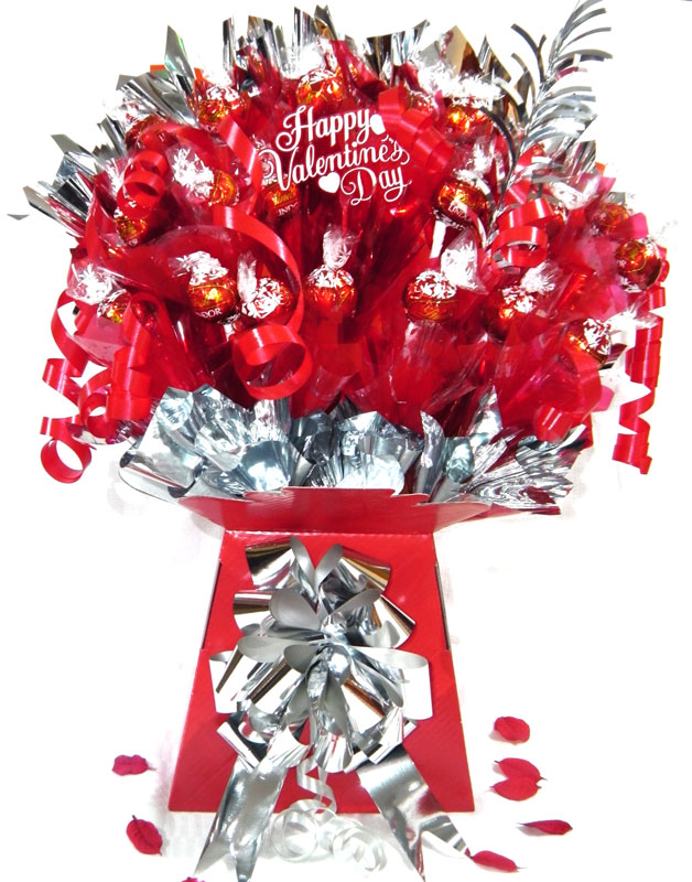 Romantic Lindt Chocolate Bouquet, Silver trim